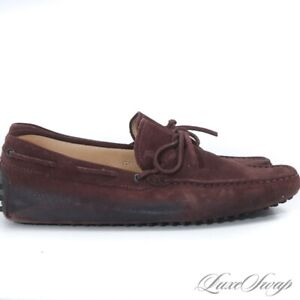 RECENT Tods Made in Italy Burnt Chocolate Distressed Bottom Gommini Loafers 8.5