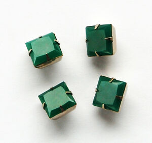 VINTAGE SQUARE GLASS BUTTONS • 12mm • SILVER SHANK • JADE GREEN