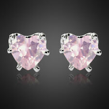 Fashion Lady Heart Cut Pink Sapphire 18K White Gold Plated Gp Stud Earrings New