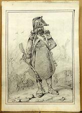 Militaria Portrait Soldat Caricature Très Beau Dessin Ancien 1837 Monarchie 1/2