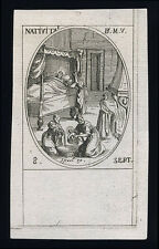 santino incisione 1600 NATIVITA' DI MARIA BAMBINA  j.callot
