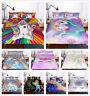 3D Cartoon Rainbow Unicorn Bedding Set Duvet Cover Pillowcase Zip Quilt Cover