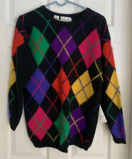 Vintage Rafaella Rabbit Fur Lambs' Wool Nylon Angora Argyle Cardigan Sweater NWT