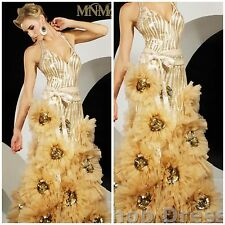 NWT MNM COUTURE GOWN ALTER APPLIQUE FLOWER BALLGOWN IN GOLD/NUDE SIZE 4 $987