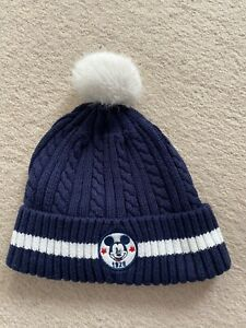 H&M Disney Mickey Mouse Navy Blue Knitted Bobble Hat Pom Pom 2-4years