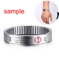 Stretch Women Medical Alert ID Cuff Bracelet Watch Band Cuff Customize Engraving