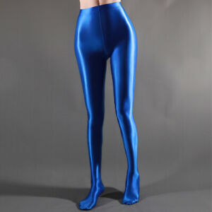 Plus Size Sexy Satin Pantyhose Shiny Wetlook Stockings High Gloss Spandex Tights