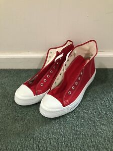 Vintage 70s 80s Red Canvas High Top Sneakers Shoes Size 10 Made in USA