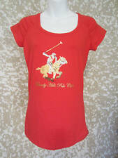 Wpomen's New Red Polo Shirt With Gold & Silver Sequins Sz. Small Embellished