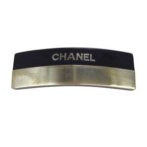 CHANEL CC Logos Hair Clip Hairpin Barrette Silver Black 00A Accessories BT16885b