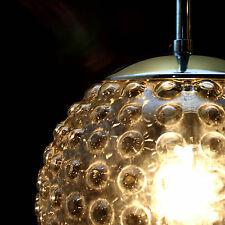 Vintage Hanging Light Pendant Lamp Bubble Glass Globe Chrome Mid-Century STAFF
