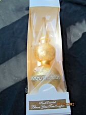 Krebs 1997 Hand Decorated Lauscha Glass Gold Christmas Tree Topper Box Germany
