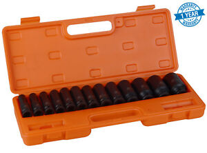 "13 pc 1/2"" inch Heavy Duty Deep Impact Socket Tool Set 10-32mm Metric Garage"