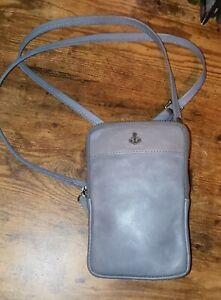 Harbour 2nd BENITA gray distressed Leather phone holder Crossbody shoulder bag