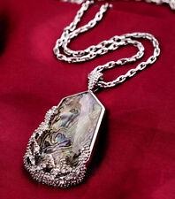 Ocean Lace Long Pendant Necklace Opal Geometric Shape Crystal Cabochon Designer