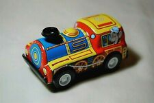 """Vintage Tin Toy New Sanko 3"""" Friction Blue/Yellow Train Locomotive Made in Japan"""