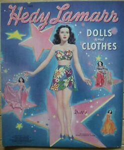 Vintage HEDY LAMARR Paper Dolls  Uncut Book  Merrill Publishing  1942