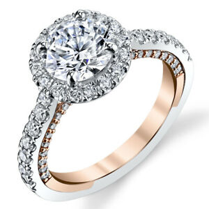 Real Round Cut 1.40 Ct Diamond Engagement Ring 14K Multi-Tone Gold Size 5 6 7 8