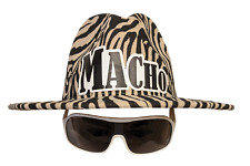 Macho Man Zebra Striped Cowboy Hat Sunglasses Halloween Costume