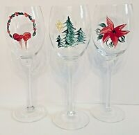 Vintage Hand Painted Holiday Stemware Cordial Wine Glass Christmas Tree Set of 3