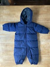 Baby GAP Down All in One Snowsuit Pramsuit 6-12 months Navy Blue Fleece Lined