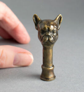 Signed SOLID BRONZE Dog FRENCH BULLDOG Bust PIPE TAMPER Miniature Sculpture