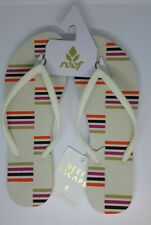 REEF Womens Stripey Flip Flops Escape Cream Stripes Sandals  UK 7 EU 40 US 9