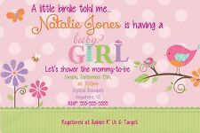Cute Tweet Baby Girl Baby Shower Invitations Print your Own Digital Birdie