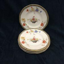"""Theodore Haviland Limoges Ganga Floral Basket Set of 4 Bread Plates 6.5"""" Vintage"""