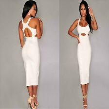 Sz 8 10 White Cut-out Sleeveless Formal Prom Cocktail Party Club Slim MidiDress