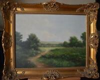 Figures on a Country Path Oil Painting Indistinctly Mercier c1980s