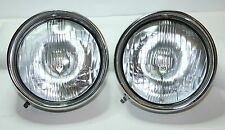 2 x  CLASSIC FIAT 500 LHD HEADLIGHTS WITH CHROME RIM HEADLAMPS PAIR KIT CHROME