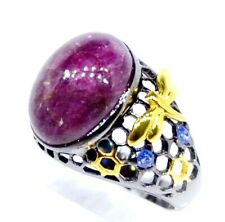 Art Handmade Silver 925 ring with natural Tourmaline and Sapphire