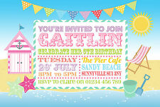 10 PERSONALISED CHILDRENS BEACH PARTY INVITATIONS - SEASIDE - BIRTHDAY