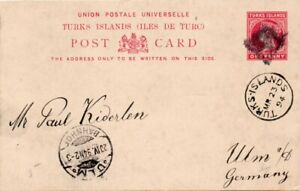 TURKS ISLANDS: Postal stationery postcard to Germany 1894.