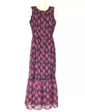 NWT Lucky Brand Maxi Dress Gauze Blue Pink Boho Gypsy Size Medium MSRP $79.50