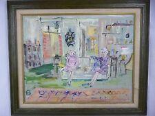 Vtg 1973 Paul Sorel Original Oil Painting 2 Elderly Ladies & their Dogs