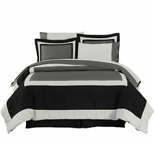 8pcs Black Gray Hotel Style Complete Bed in a Bag Comforter Set and Sheet Set