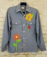 Vintage Embroidered Women Button-up Chambray Flowers Spring Butterfly Ladybug L