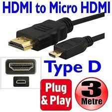 3M HDMI al micro HDMI tipo D 1.4V Cavo Gold 1080p per HD TV LCD Tesco Hudl Piombo