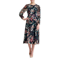 Tommy Hilfiger Corsage Print Chiffon Midi Dress MSRP $149 Size 2 # 14B 836 NEW