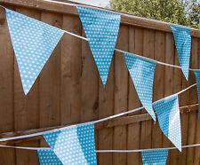 Baby Shower Bunting Reveal 10m Boy 1st Birthday Light Blue Polka Dot Flags