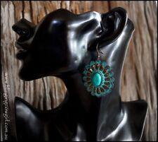 Boho Metal Turquoise Tribal Concho Earring Dangle Hook - Copper Patina