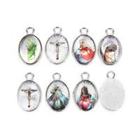 20Pcs Holy Catholic Religious Crosses Enamel Medals Charms Pendants 25mm