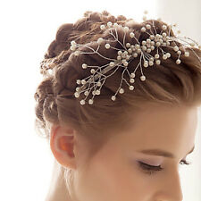 Wedding Cream Pearl Silver diamante Bride Headband Prom Party  Bridal Hair Band