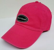 LIFE IS GOOD Women's Chill Cap LIG OVAL Cotton Baseball Hat POP PINK NWT!