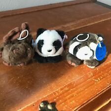 Estate Lot of 2 PURR-Fection by MJC Small Pudge Brown Plush Moose Raccoon & PUFF