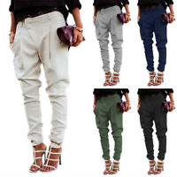 Women Casual Harem Pants Lady Skinny Solid Cargo Jogger Trousers Office Workwear