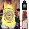 Women Summer Sleeveless Vest Tank Top Printed Beach Loose Cotton  Blouse T-Shirt