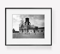 1902 San Xavier Mission, Tucson, Arizona. Vintage Black & White Photograph